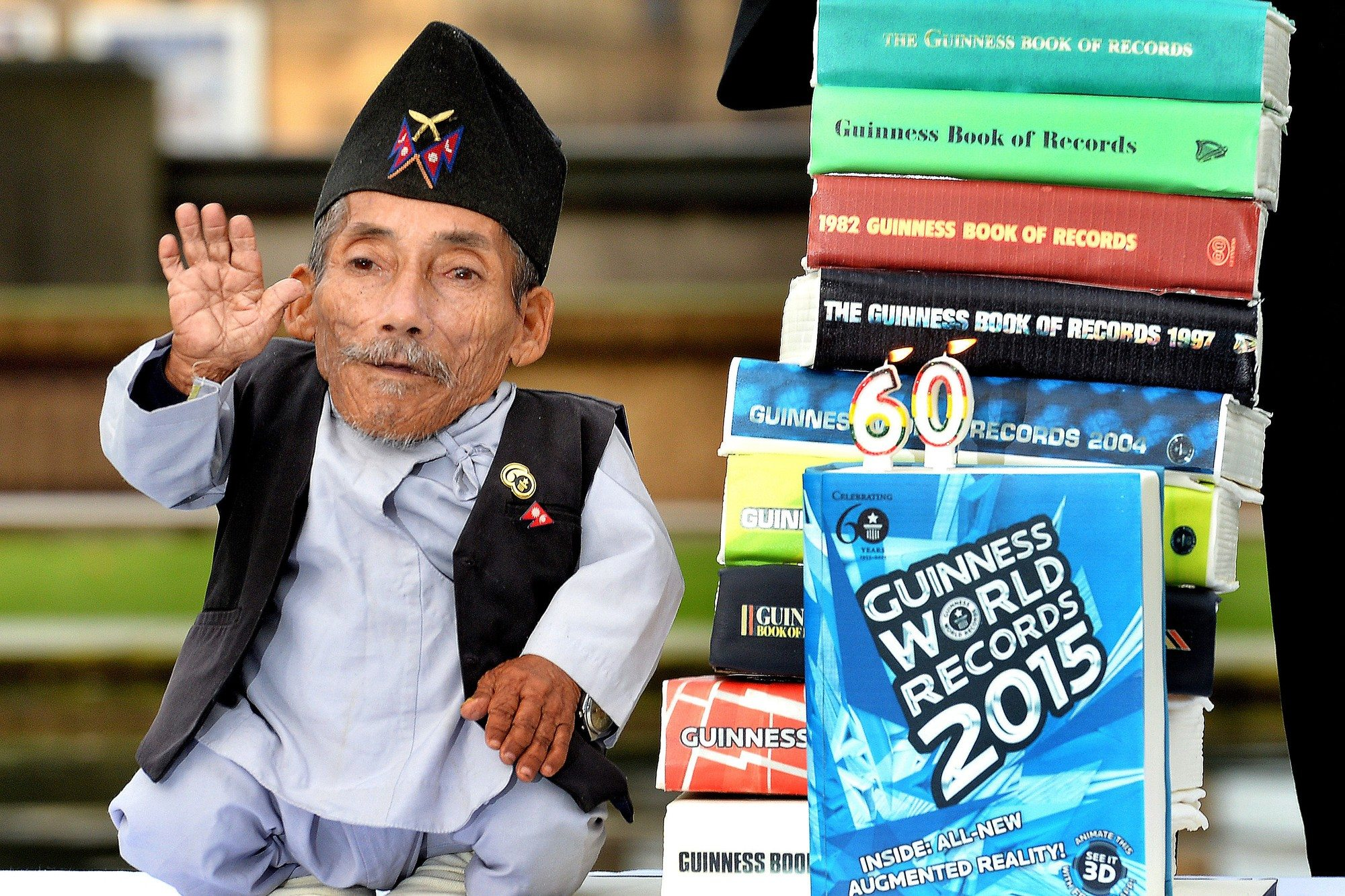 Chandra Dangi, who is 21.5 inches tall, at a photocall to celebrate the 10th annual Guinness World Records Day in Westminster, London, UK, Thursday November 13, 2014. Photo by John Stillwell/PA Wire/ABACAPRESS.COM